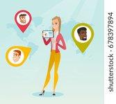 caucasian woman holding tablet... | Shutterstock .eps vector #678397894