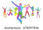 together we celebrate big group  | Shutterstock .eps vector #678397936