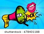 pop art megaphone pink woman... | Shutterstock .eps vector #678401188
