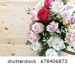 colorful rose bouquet with... | Shutterstock . vector #678406873