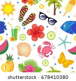 summertime seamless pattern.... | Shutterstock .eps vector #678410380
