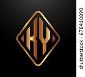 golden monogram logo curved... | Shutterstock .eps vector #678410890