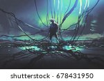 scene of futuristic man with... | Shutterstock . vector #678431950