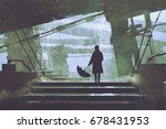 Sci Fi Scene Of Man With...