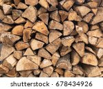 stacked firewood for camp fires ... | Shutterstock . vector #678434926