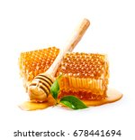 honeycomb with honey dipper and ... | Shutterstock . vector #678441694
