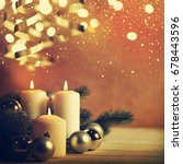 christmas candles and ornaments ... | Shutterstock . vector #678443596
