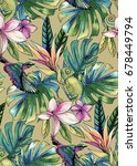 seamless tropical pattern with... | Shutterstock . vector #678449794