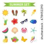 hello summer icon set  flat ...   Shutterstock .eps vector #678452293