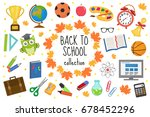 back to school icon set  flat ... | Shutterstock .eps vector #678452296