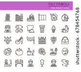 italy symbols   thin line and... | Shutterstock .eps vector #678454768