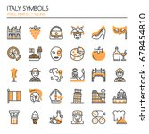 italy symbols   thin line and... | Shutterstock .eps vector #678454810