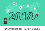 2018 new year with gasoline... | Shutterstock .eps vector #678461668