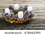 traditional advent wreath on... | Shutterstock . vector #678463390