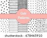 set of cute black and white... | Shutterstock .eps vector #678465910