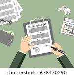 man signing a rental agreement. ... | Shutterstock .eps vector #678470290