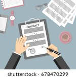 businessman signing a contract. ... | Shutterstock .eps vector #678470299