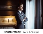 young handsome man relaxing at... | Shutterstock . vector #678471313