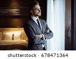 young handsome man relaxing at... | Shutterstock . vector #678471364