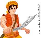 aladdin holds his magic saber | Shutterstock .eps vector #678475240