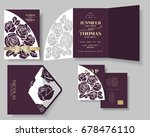 set of burgundy rose laser cut... | Shutterstock .eps vector #678476110
