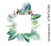 exotic tropical square frame... | Shutterstock .eps vector #678476284