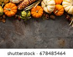 fall copy space with pumpkins ... | Shutterstock . vector #678485464