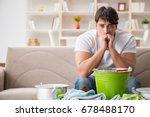 man at home dealing with... | Shutterstock . vector #678488170