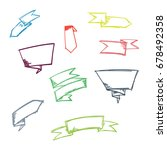 doodle ribbon set | Shutterstock .eps vector #678492358