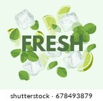 fresh letter with mojito... | Shutterstock .eps vector #678493879