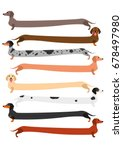 very long colorful dachshund set | Shutterstock .eps vector #678497980