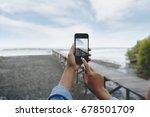 selective focus on hand using...   Shutterstock . vector #678501709