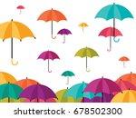 colorful umbrella icons rainy... | Shutterstock .eps vector #678502300