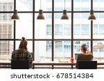 two freelance working in coffee ... | Shutterstock . vector #678514384