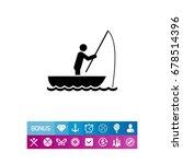 man in boat fishing icon | Shutterstock .eps vector #678514396