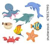 sea animals cartoon set. trendy ... | Shutterstock .eps vector #678517993
