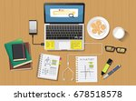 school homework desk top view... | Shutterstock .eps vector #678518578