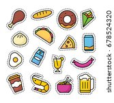 food and beverage patch icons ... | Shutterstock .eps vector #678524320