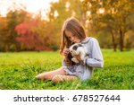 happy little child girl playing ... | Shutterstock . vector #678527644
