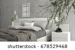 modern bedroom with big olive... | Shutterstock . vector #678529468