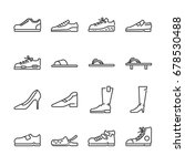 shoes line icon set. included... | Shutterstock .eps vector #678530488