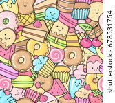 seamless background of sweet... | Shutterstock .eps vector #678531754