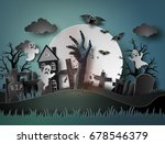 halloween party with ghost and... | Shutterstock .eps vector #678546379