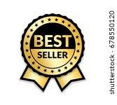 ribbon award best seller. gold... | Shutterstock .eps vector #678550120