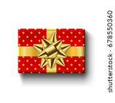 red gift box top view  gold... | Shutterstock .eps vector #678550360