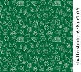 back to school doodle seamless...   Shutterstock .eps vector #678554599