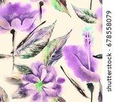 summer flowers seamless pattern.... | Shutterstock . vector #678558079