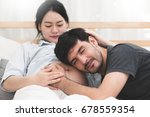 happiness of handsome husband... | Shutterstock . vector #678559354