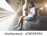 asian female backpacker is...   Shutterstock . vector #678559594