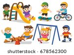 set of happy excited kids...   Shutterstock .eps vector #678562300
